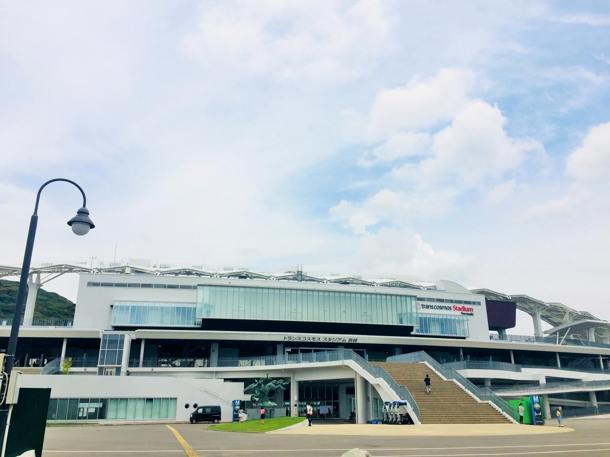 トランスコスモススタジアム長崎の雰囲気ですよ。