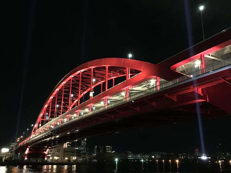 神戸大橋の夜景(ロマンティックな神戸港)